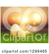 Clipart Of 3d Yellow Easter Eggs In Grass Over A Sunset Ocean Royalty Free Vector Illustration