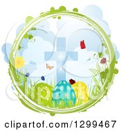 Clipart Of A Green And White Grunge Circle With Butterflies Flowers Grass A Cross And Easter Eggs Royalty Free Vector Illustration