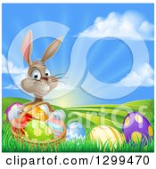 Clipart Of A Brown Easter Bunny Rabbit With A Basket Of Eggs On A Hill At Sunrise Royalty Free Vector Illustration
