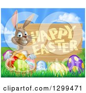 Clipart Of A Brown Bunny Rabbit With A Basket Of Eggs In The Grass A Happy Easter Sign Against A Sunrise Royalty Free Vector Illustration