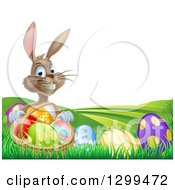 Clipart Of A Brown Easter Bunny Rabbit With A Basket Of Eggs On A Hill Royalty Free Vector Illustration