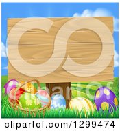 Clipart Of A Blank Wood Easter Sign With Eggs In Grass Against A Sky Royalty Free Vector Illustration