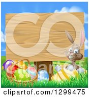 Clipart Of A Brown Easter Bunny Rabbit With Eggs Sitting In A Shell By A Basket And Blank Wood Sign Against Sky Royalty Free Vector Illustration