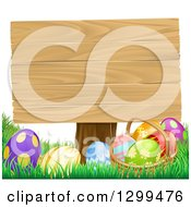 Clipart Of A Basket Of Easter Eggs In The Grass Under A Blank Wood Sign Royalty Free Vector Illustration