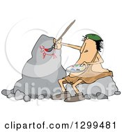 Clipart Of A Chubby Caveman Artist Sitting On A Rock And Painting Royalty Free Vector Illustration by djart