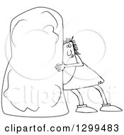 Lineart Clipart Of A Black And White Chubby Caveman Pushing A Monolith Royalty Free Outline Vector Illustration