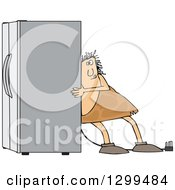 Clipart Of A Chubby Caveman Using The Wall Behind Him To Push A Refrigerator Out Royalty Free Vector Illustration by djart