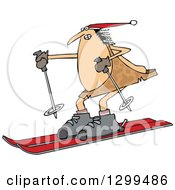 Clipart Of A Chubby Caveman Wearing A Santa Hat And Skiing Royalty Free Vector Illustration