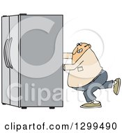 Chubby White Man Using The Wall Behind Him To Push A Refrigerator Out