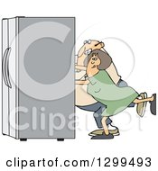 Clipart Of A Chubby White Couple Using The Wall Behind Them To Push A Refrigerator Out Royalty Free Vector Illustration by djart