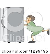 Clipart Of A White Woman Using The Wall Behind Her To Push A Refrigerator Out Royalty Free Vector Illustration by djart