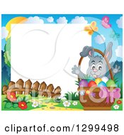 Clipart Of A Gray Bunny Rabbit Behind A Basket Of Easter Eggs In A Park With White Text Space Royalty Free Vector Illustration