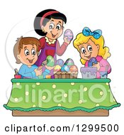 Clipart Of A Caucasian Mom And Children Decorating Easter Eggs Royalty Free Vector Illustration
