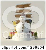 Clipart Of A 3d Christmas Snowman With Wooden Directional Signs Luggage And Ski Equipment Royalty Free Illustration