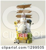 Clipart Of A 3d Christmas Snowman With Directional Signs Luggage And Ski Equipment Royalty Free Illustration