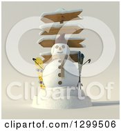 Clipart Of A 3d Christmas Snowman With Directional Signs And Ski Equipment Royalty Free Illustration by Frank Boston