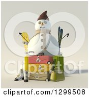 3d Christmas Snowman With Luggage And Ski Equipment