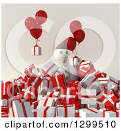 Clipart Of A 3d Snowman In A Pile Of Christmas Gifts With Balloons Royalty Free Illustration by Frank Boston