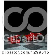 Clipart Of A 3d Formula One Red Race Car On Checkers With Text Space On Black 2 Royalty Free Illustration by Frank Boston