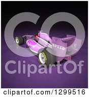 Clipart Of A 3d Formula One Purple Race Car On Checkers Royalty Free Illustration