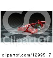 Clipart Of A 3d Formula One Red Race Car On Checkers Royalty Free Illustration