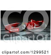 Clipart Of A 3d Formula One Red Race Car On Checkers 2 Royalty Free Illustration by Frank Boston