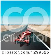 Clipart Of A 3d Formula One Red Race Car On A Road Royalty Free Illustration by Frank Boston