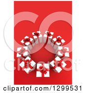 Clipart Of A 3d Circle Of Christmas Or Birthday Gifts On Red Royalty Free Illustration