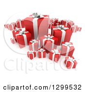 Clipart Of A 3d Group Of Red And White Christmas Or Birthday Gifts On White 2 Royalty Free Illustration