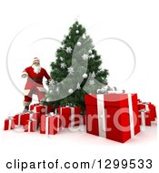 Clipart Of A 3d Christmas Tree And Santa With Gifts Royalty Free Illustration