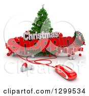 Clipart Of A 3d Tree With A Computer Mouse CHRISTMAS SHOPPING Text Baubles And Gifts Royalty Free Illustration