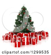 Clipart Of A 3d Christmas Tree Red And White Gift Boxes Royalty Free Illustration