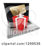 Clipart Of A 3d Christmas Or Birthday Gift And Credit Card On A Laptop Computer Royalty Free Illustration