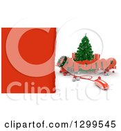 3d Christmas Tree With A Computer Mouse PROMO Text Baubles And Gifts With Torn Red Paper
