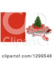 3d Christmas Tree With A Computer Mouse SHOP Text Baubles And Gifts With Torn Red Paper