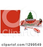 3d Tree With A Computer Mouse CHRISTMAS SHOPPING Text Baubles And Gifts With Torn Red Paper
