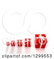 3d Row Of Small To Large Red Christmas Or Birthday Gifts On White