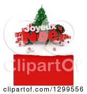 3d Christmas Tree With Baubles Gifts And Joyeux Noel Text Over Torn Red Paper