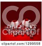 3d Group Of Red And White Christmas Or Birthday Gifts On Red