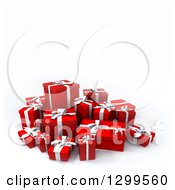 3d Group Of Red And White Christmas Or Birthday Gifts On White