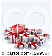 3d Group Of Red And White Christmas Or Birthday Gifts On White 2