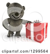 3d Christmas Or Birthday Gift And Teddy Bear