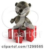 3d Teddy Bear Sitting On Christmas Or Birthday Gifts