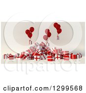 Clipart Of A 3d Pile Of White And Red Christmas Gifts With Party Balloons 2 Royalty Free Illustration