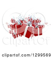 3d Christmas Gifts Floating With Bubbles On White
