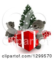 3d Christmas Tree With Teddy Bears Moving Gifts