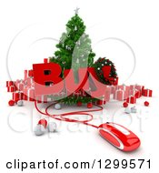 3d Christmas Tree With BUY Text A Computer Mouse Baubles And Gifts