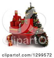 3d Christmas Tree With A Basket Of Gifts And A Wreath