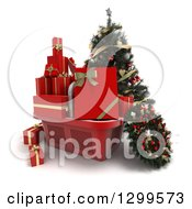 3d Christmas Tree With A Basket Of Gifts And A Wreath 2