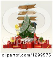 3d Sign Post Christmas Tree With Gifts Stocking Luggage Ski And Snowboarding Gear